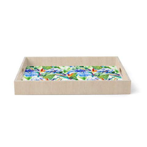 "mmartabc ""Floral Exotic Pattern I"" Blue Green Pattern Nature Illustration Watercolor Birchwood Tray"
