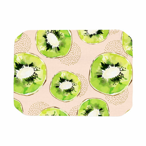 "mmartabc ""Pattern Of Kiwis"" Gold Green Pattern Food Illustration Watercolor Place Mat"