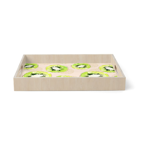 "mmartabc ""Pattern Of Kiwis"" Gold Green Pattern Food Illustration Watercolor Birchwood Tray"