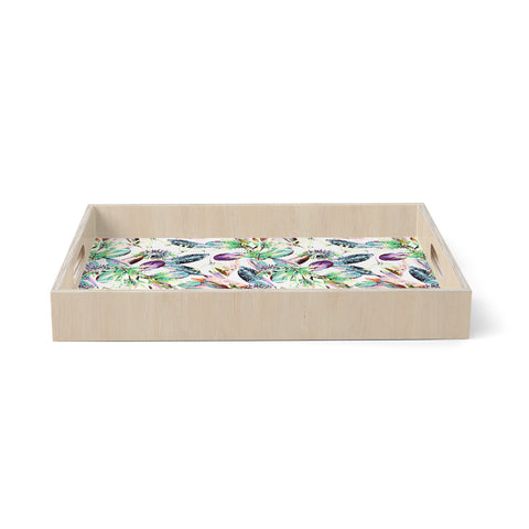 "mmartabc ""Pattern Abstract Nature"" Green Purple Abstract Nature Illustration Watercolor Birchwood Tray"