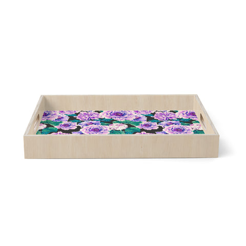 "mmartabc ""Garden Flowered Purple Peonies"" Purple Green Floral Love Illustration Watercolor Birchwood Tray"