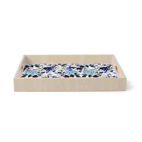 "mmartabc ""Blooming Blue And White"" Blue White Nature Floral Illustration Vector Birchwood Tray"