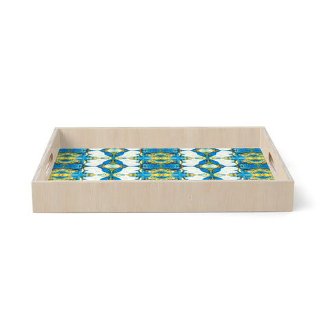 "mmartabc ""Bluish Mineral Mosaic"" Blue Yellow Abstract Ethnic Digital Mixed Media Birchwood Tray"
