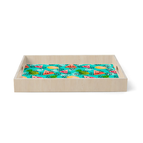 "mmartabc ""Pattern Tropical Fruits I"" Blue Multicolor Holiday Pattern Illustration Watercolor Birchwood Tray"