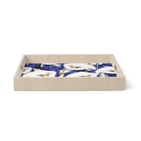 "mmartabc ""Pattern Calla Lily Flower"" Blue Yellow Floral Vintage Illustration Digital Birchwood Tray"