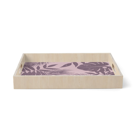 "mmartabc ""Purple Monochrome Jungle"" Purple Pastel Nature Travel Illustration Vector Birchwood Tray"