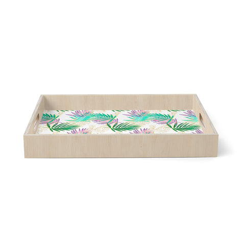 "mmartabc ""Palm Leaf Colorful And Gold"" Gold Multicolor Nature Pattern Illustration Digital Birchwood Tray"