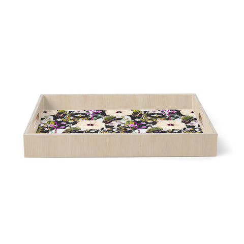 "mmartabc ""Abstract Blooming Botanic"" Purple Multicolor Floral Nature Illustration Watercolor Birchwood Tray"