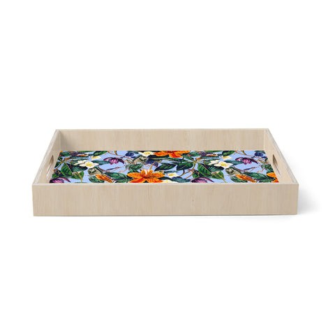 "mmartabc ""Vintage Flower Garden"" Coral Blue Floral Nature Illustration Digital Birchwood Tray"