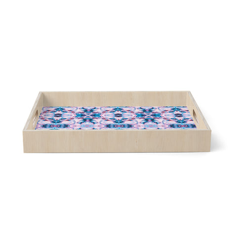"mmartabc ""Marble Tribal Mosaic"" Pink Blue Abstract Tribal Painting Vector Birchwood Tray"