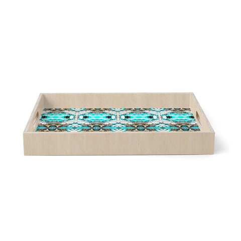 "mmartabc ""Mosaic Tribal Boho Blue"" Blue Maroon Abstract Pattern Watercolor Painting Birchwood Tray"