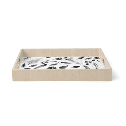 "mmartabc ""Black And White Nature"" Black White Abstract Nature Illustration Watercolor Birchwood Tray"