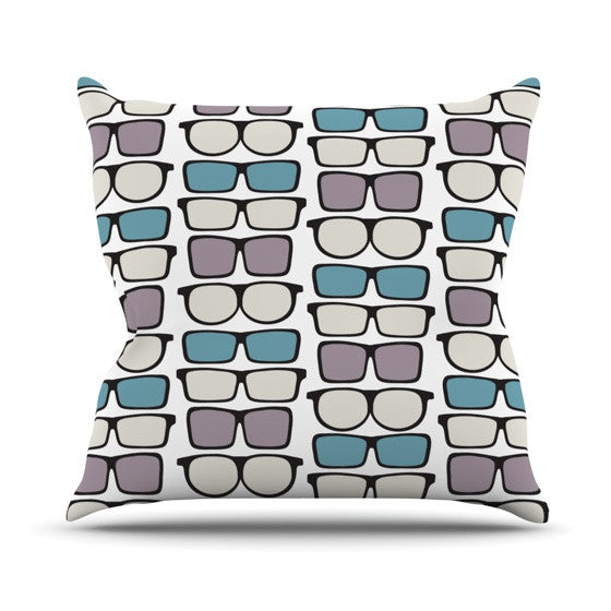 "Michelle Drew ""Spectacles Geek Chic"" Outdoor Throw Pillow - KESS InHouse  - 1"