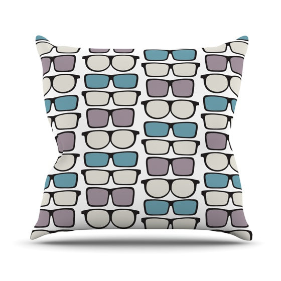 "Michelle Drew ""Spectacles Geek Chic"" Throw Pillow - KESS InHouse  - 1"