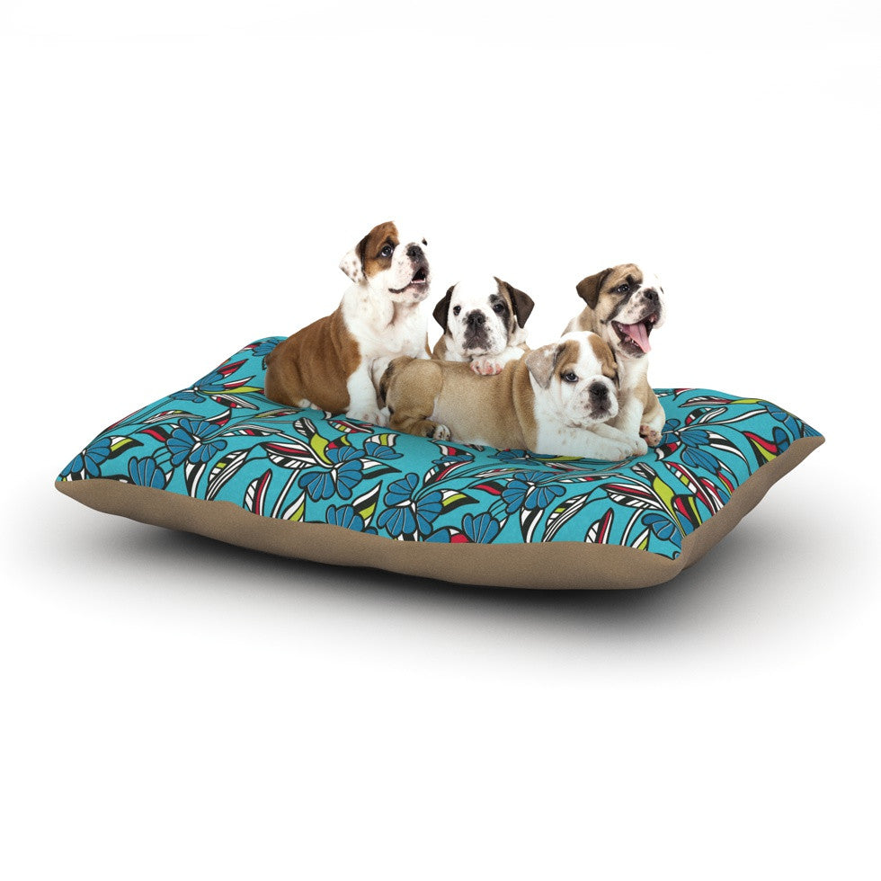 "Michelle Drew ""Paper Leaf Blue"" Dog Bed - KESS InHouse  - 1"