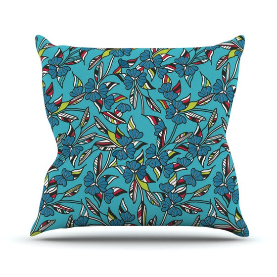 "Michelle Drew ""Paper Leaf Blue"" Outdoor Throw Pillow - KESS InHouse  - 1"