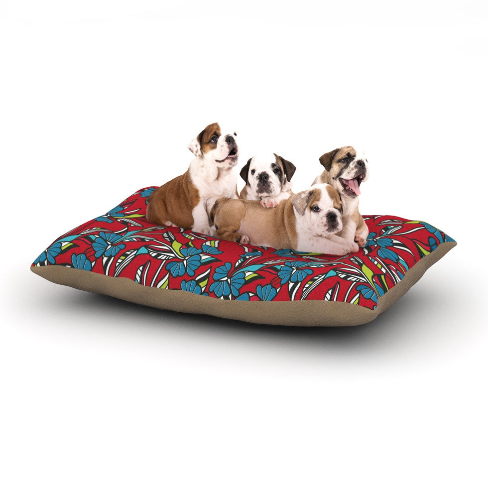 "Michelle Drew ""Paper Leaf Red"" Dog Bed - KESS InHouse  - 1"
