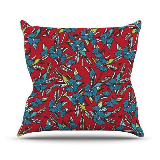 "Michelle Drew ""Paper Leaf Red"" Outdoor Throw Pillow - KESS InHouse  - 1"