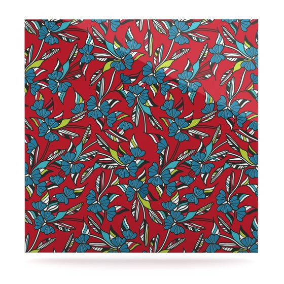 "Michelle Drew ""Paper Leaf Red"" Luxe Square Panel - KESS InHouse  - 1"