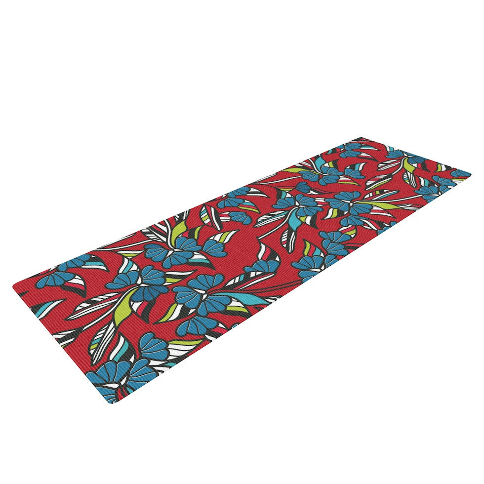 "Michelle Drew ""Paper Leaf Red"" Yoga Mat - KESS InHouse  - 1"