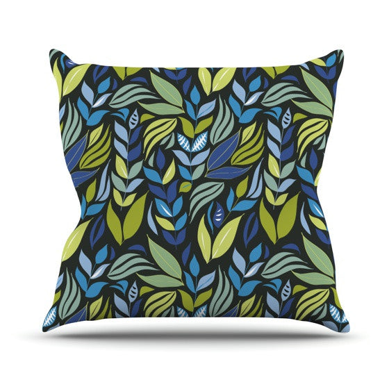 "Michelle Drew ""Underwater Bouquet Night"" Outdoor Throw Pillow - KESS InHouse  - 1"