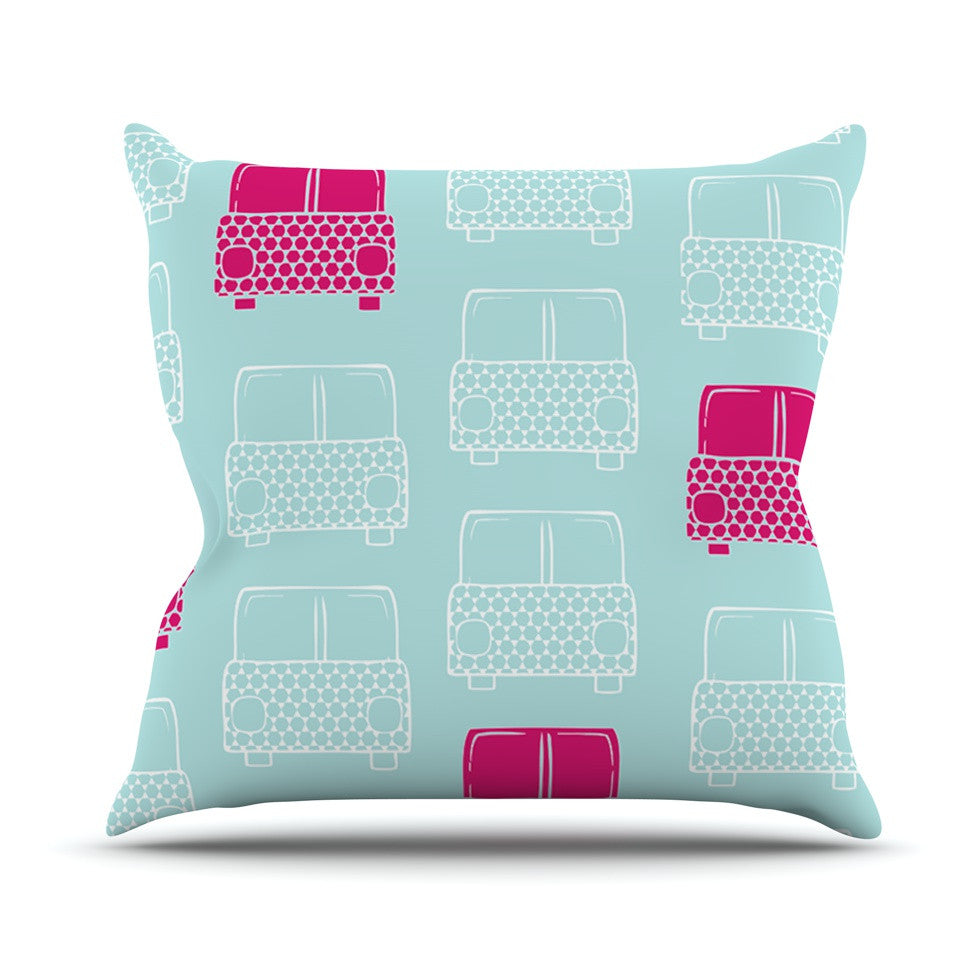 "Michelle Drew ""Beep Beep"" Magenta Aqua Outdoor Throw Pillow - KESS InHouse  - 1"