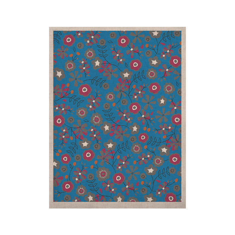 "Michelle Drew ""Meadow"" Navy Paisley KESS Naturals Canvas (Frame not Included) - KESS InHouse  - 1"