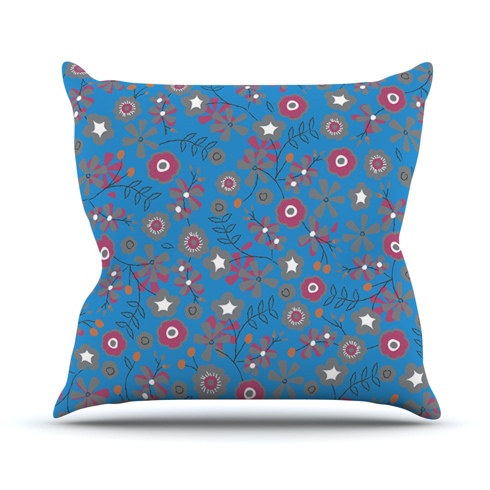 "Michelle Drew ""Meadow"" Navy Paisley Throw Pillow - KESS InHouse  - 1"