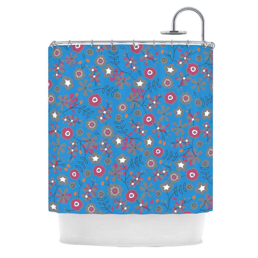 "Michelle Drew ""Meadow"" Navy Paisley Shower Curtain - KESS InHouse"