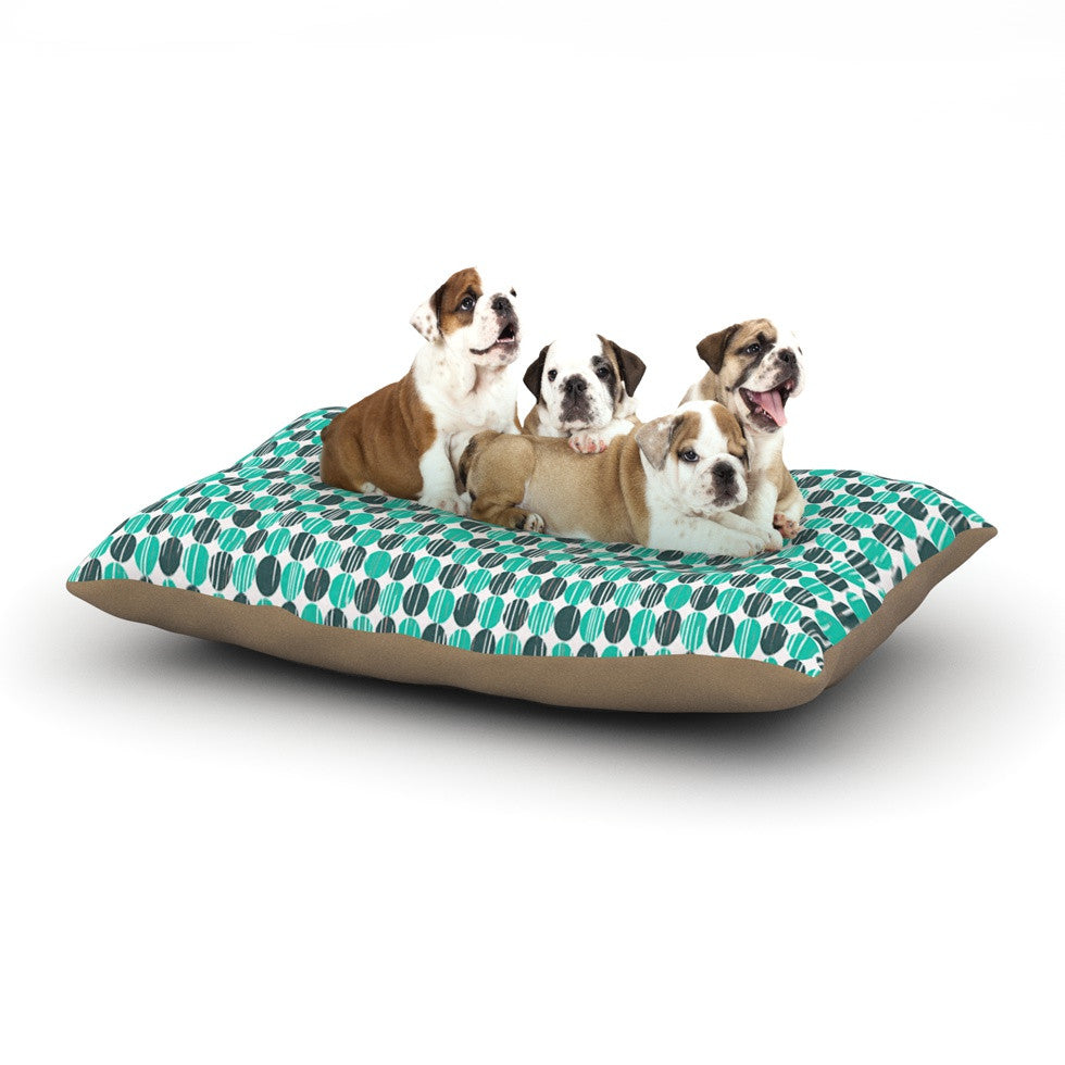 "Michelle Drew ""Distressed Circles"" Teal Aqua Dog Bed - KESS InHouse  - 1"