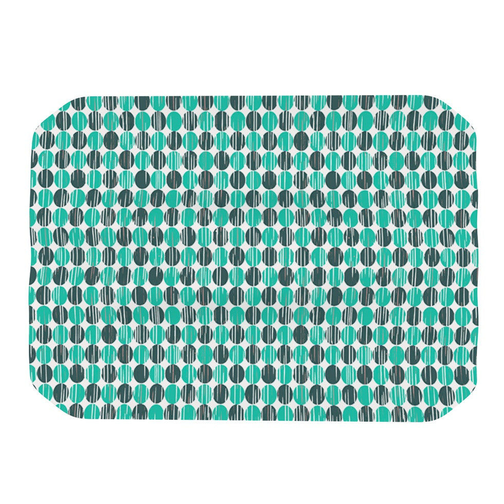 "Michelle Drew ""Distressed Circles"" Teal Aqua Place Mat - KESS InHouse"