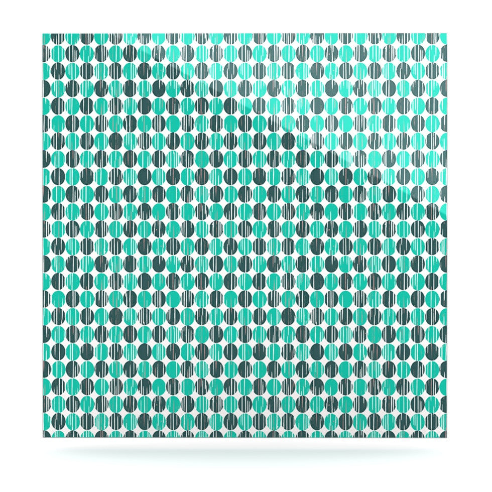"Michelle Drew ""Distressed Circles"" Teal Aqua Luxe Square Panel - KESS InHouse  - 1"