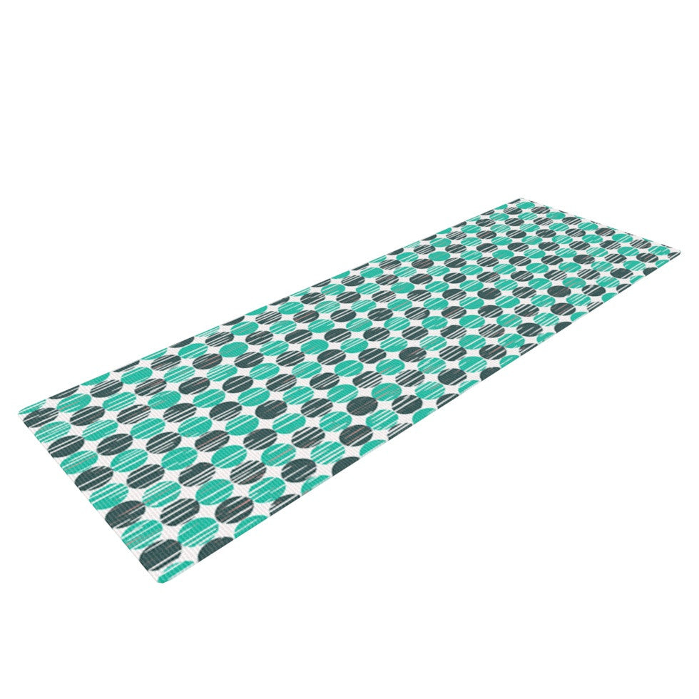 "Michelle Drew ""Distressed Circles"" Teal Aqua Yoga Mat - KESS InHouse  - 1"