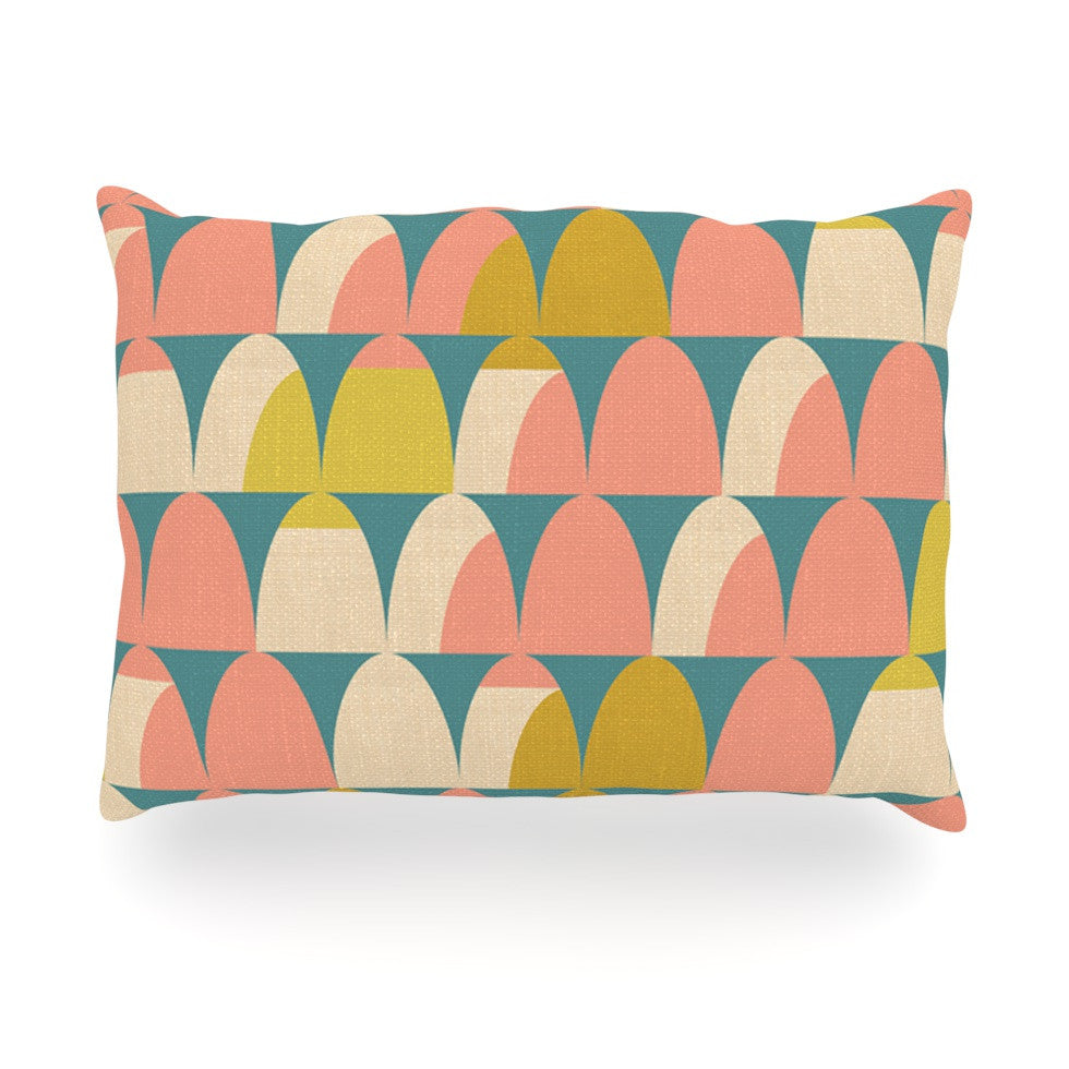 "Michelle Drew ""Scallops"" Pink Teal Oblong Pillow - KESS InHouse"