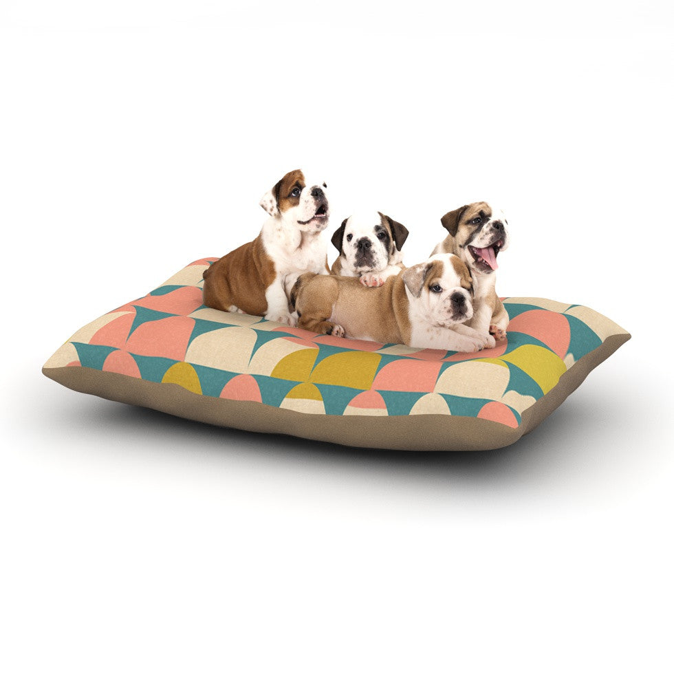 "Michelle Drew ""Scallops"" Pink Teal Dog Bed - KESS InHouse  - 1"