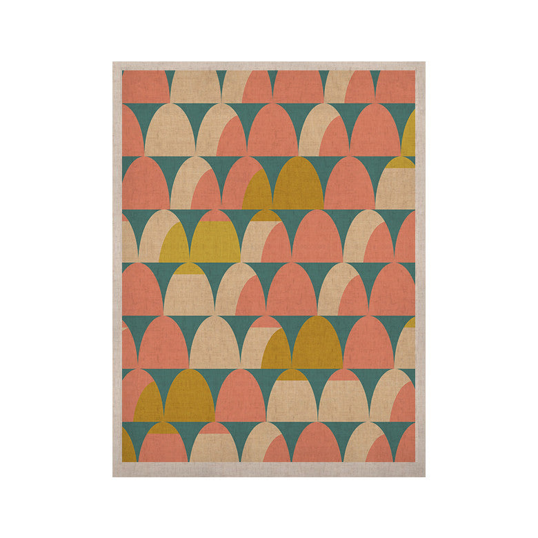 "Michelle Drew ""Scallops"" Pink Teal KESS Naturals Canvas (Frame not Included) - KESS InHouse  - 1"