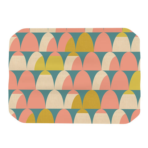 "Michelle Drew ""Scallops"" Pink Teal Place Mat - Outlet Item"