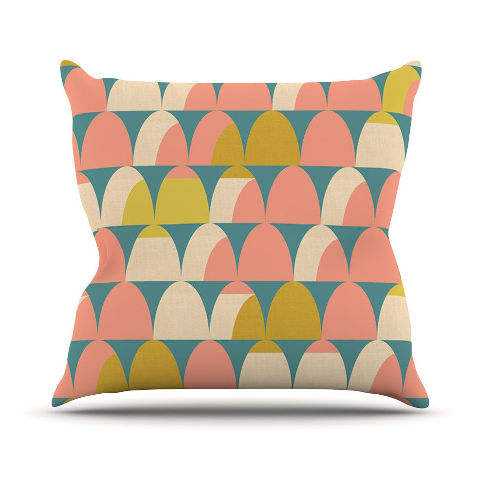 "Michelle Drew ""Scallops"" Pink Teal Throw Pillow - KESS InHouse  - 1"