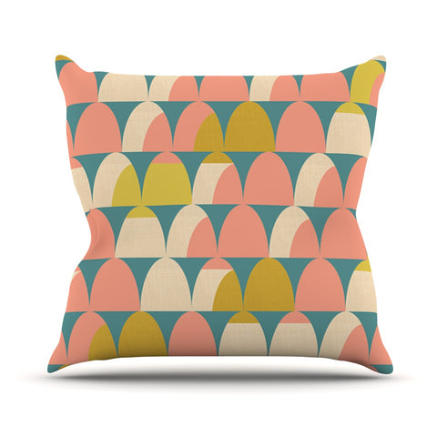 "Michelle Drew ""Scallops"" Pink Teal Throw Pillow - Outlet Item - KESS InHouse"