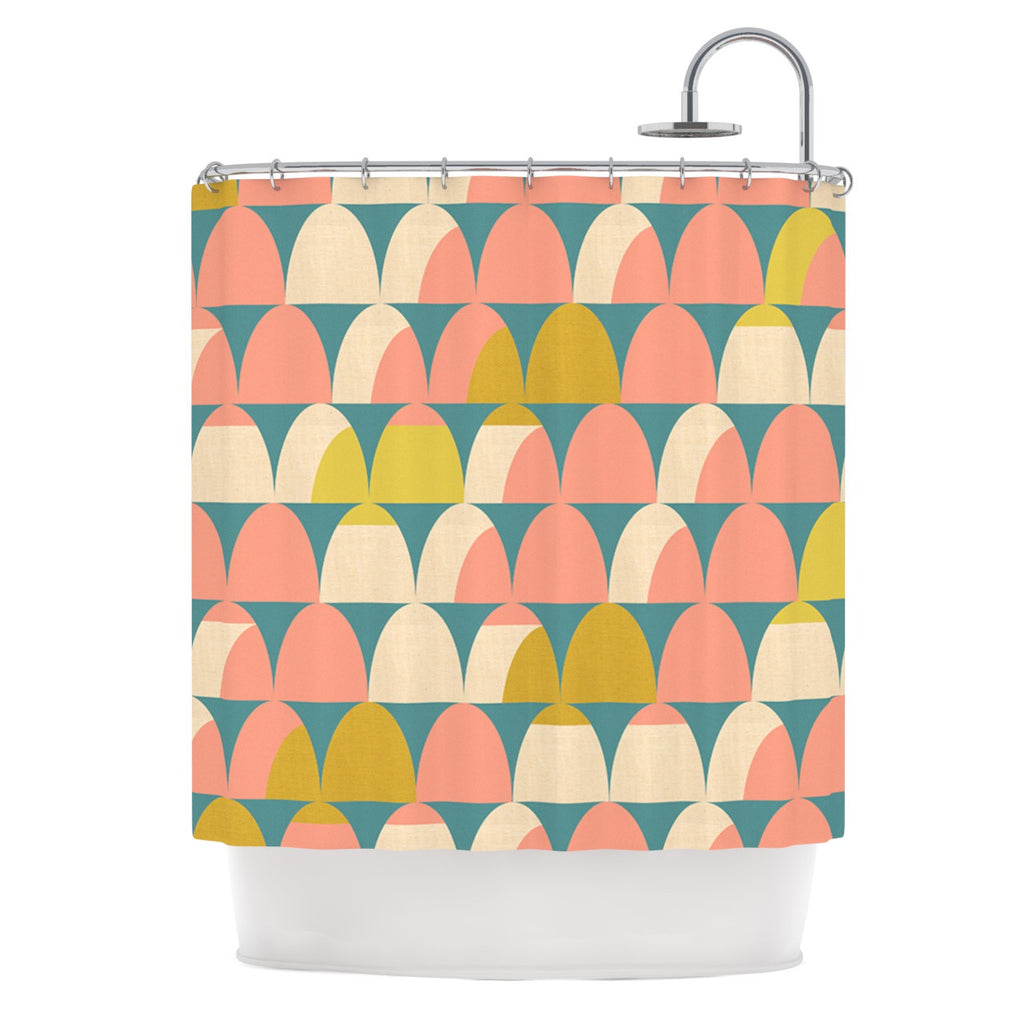 "Michelle Drew ""Scallops"" Pink Teal Shower Curtain - KESS InHouse"