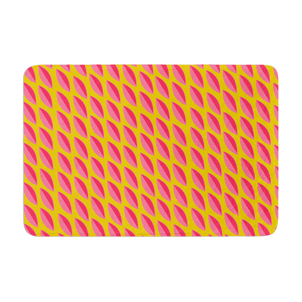 "Michelle Drew ""Seed Pods"" Magenta Orange Memory Foam Bath Mat - KESS InHouse"