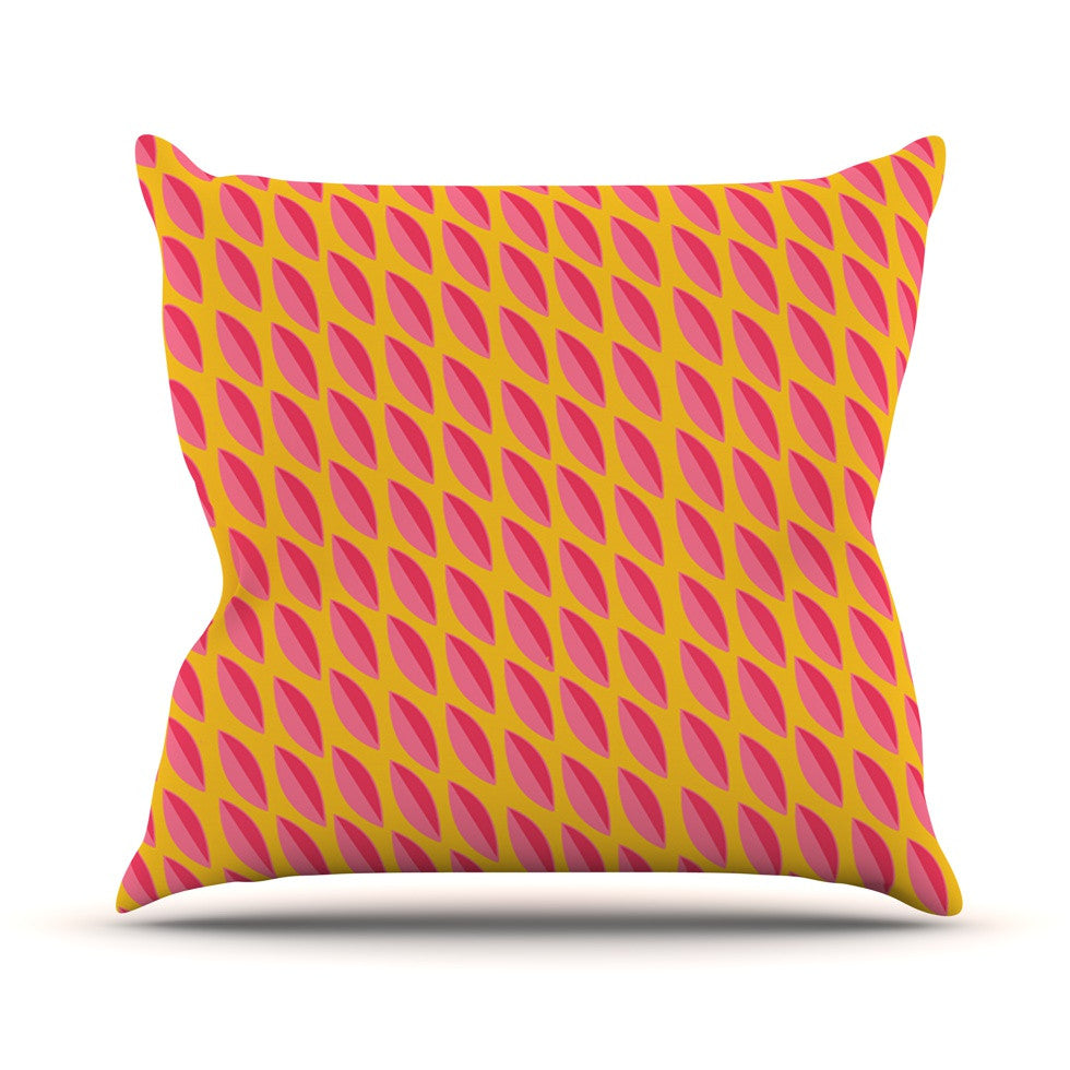 "Michelle Drew ""Seed Pods"" Magenta Orange Outdoor Throw Pillow - KESS InHouse  - 1"