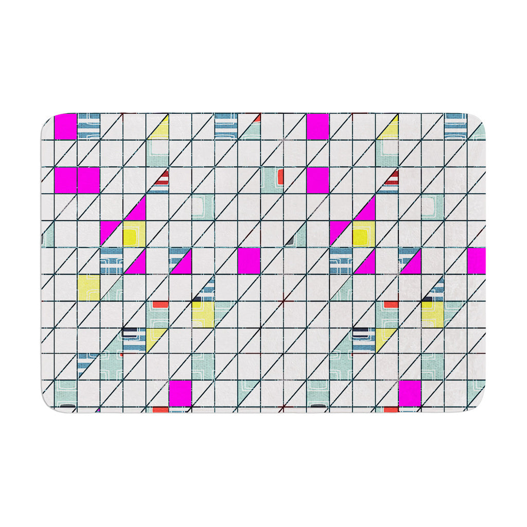 "Michelle Drew ""Squares"" Abstract Geometry Memory Foam Bath Mat - KESS InHouse"