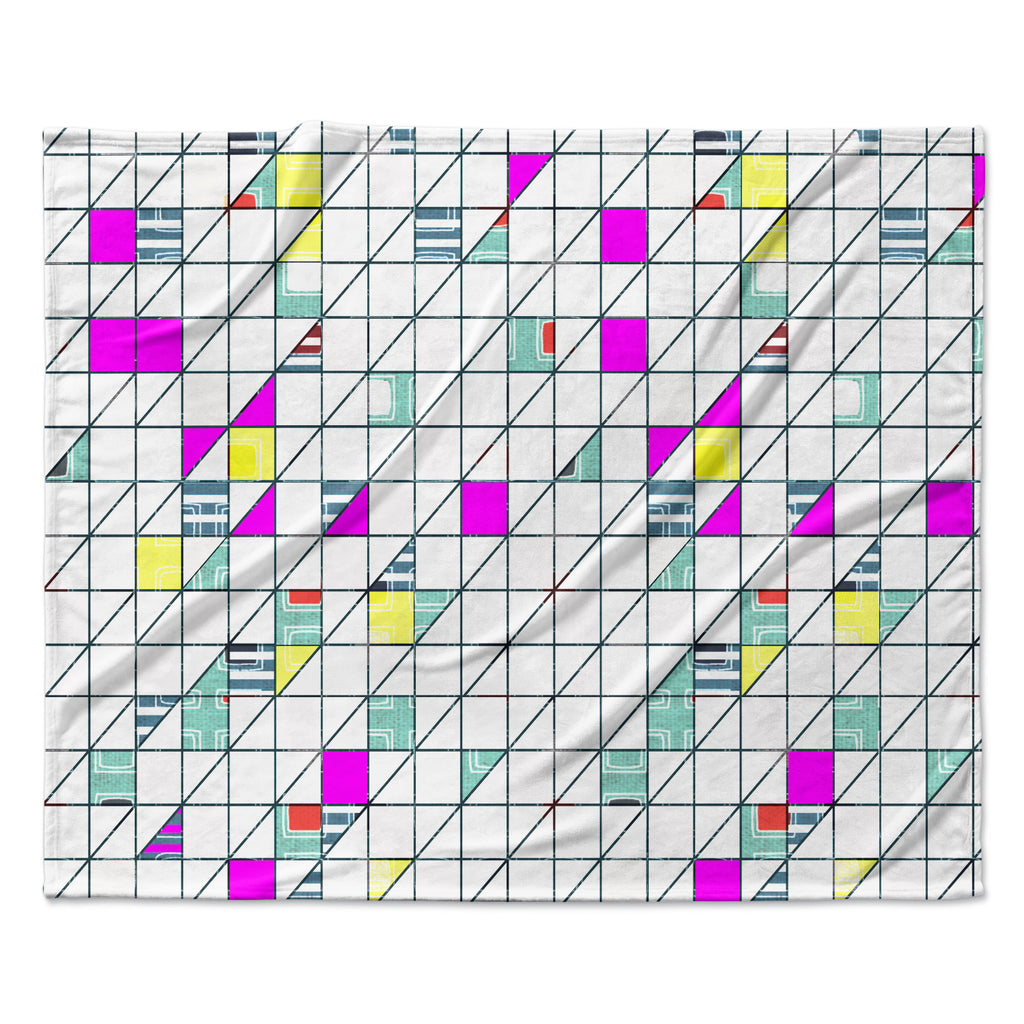 "Michelle Drew ""Squares"" Abstract Geometry Fleece Throw Blanket"