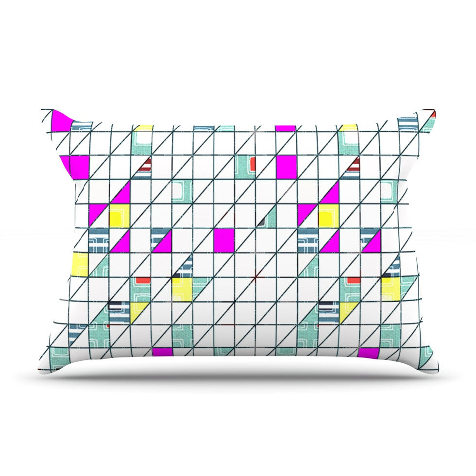 "Michelle Drew ""Squares"" Abstract Geometry Pillow Sham - KESS InHouse"