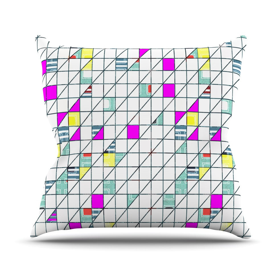 "Michelle Drew ""Squares"" Abstract Geometry Outdoor Throw Pillow - KESS InHouse  - 1"