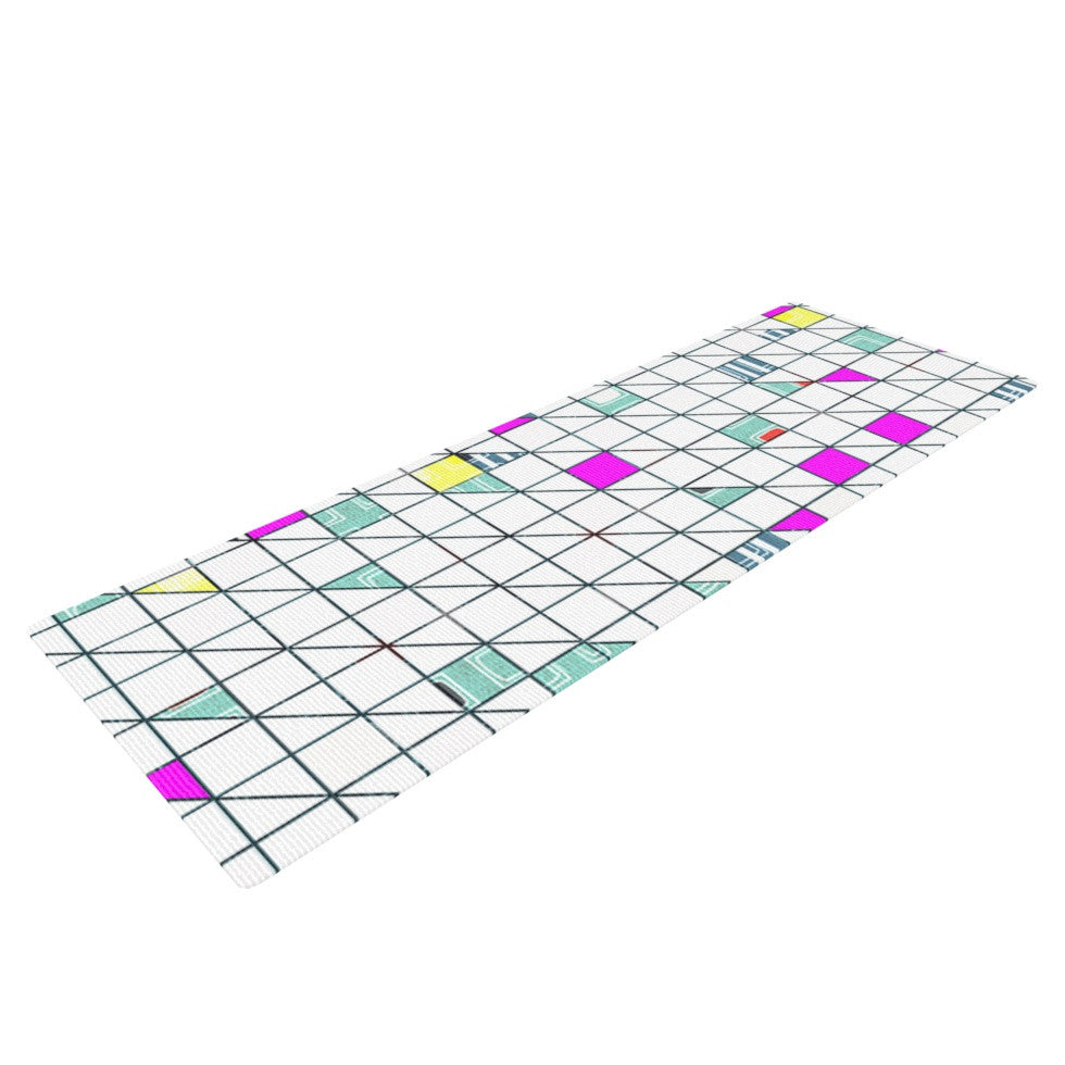 "Michelle Drew ""Squares"" Abstract Geometry Yoga Mat - KESS InHouse  - 1"