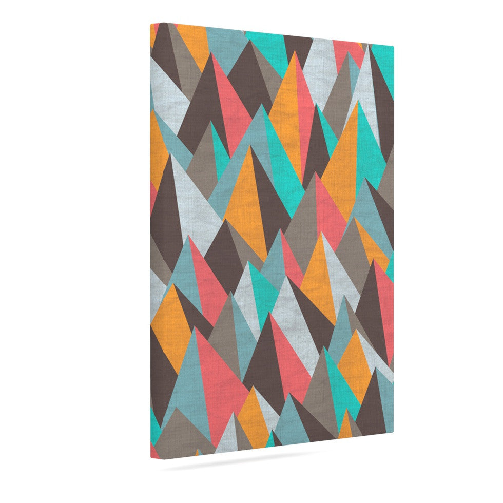 "Michelle Drew ""Mountain Peaks I"" Orange Teal Canvas Art - KESS InHouse  - 1"