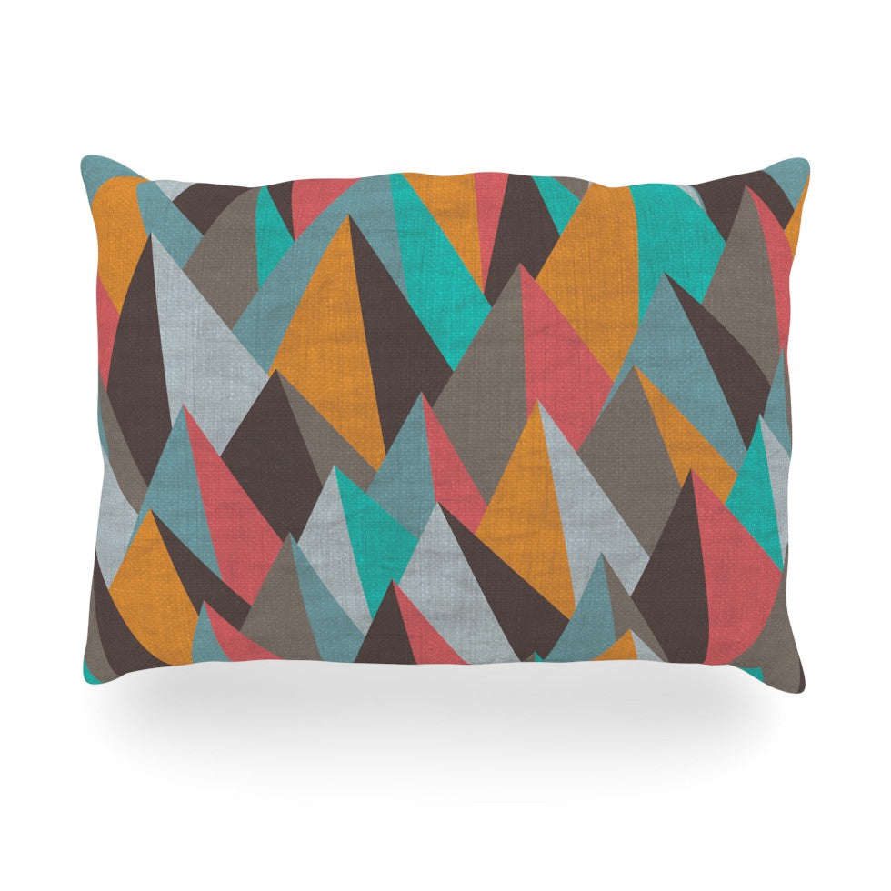 "Michelle Drew ""Mountain Peaks I"" Orange Teal Oblong Pillow - KESS InHouse"