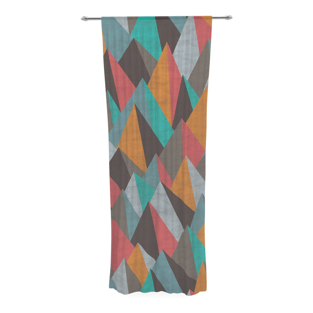 "Michelle Drew ""Mountain Peaks I"" Orange Teal Decorative Sheer Curtain - KESS InHouse  - 1"